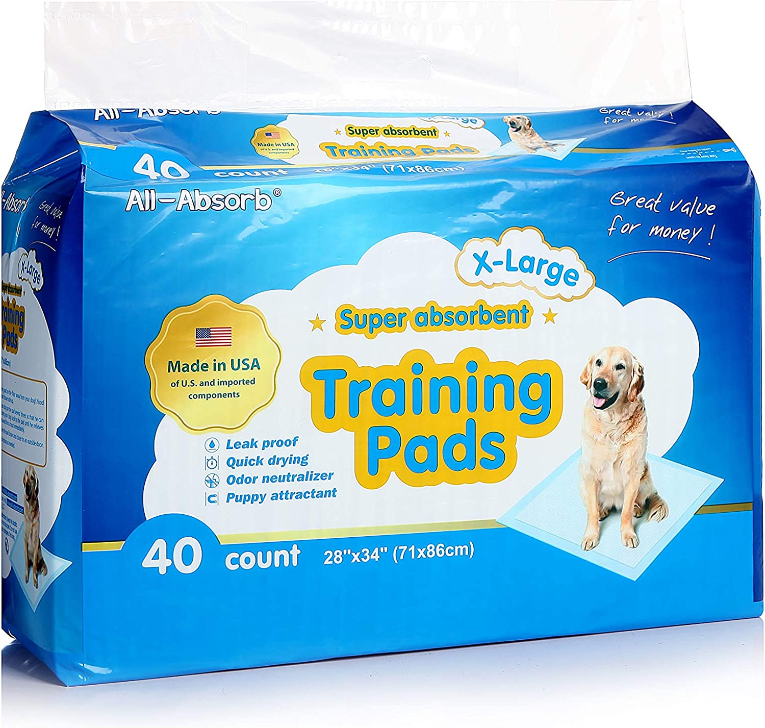 All-absorb Extra Large Training Pads 28-inch By 34-inch, 40-count : Pet Training Pads : Pet Supplies