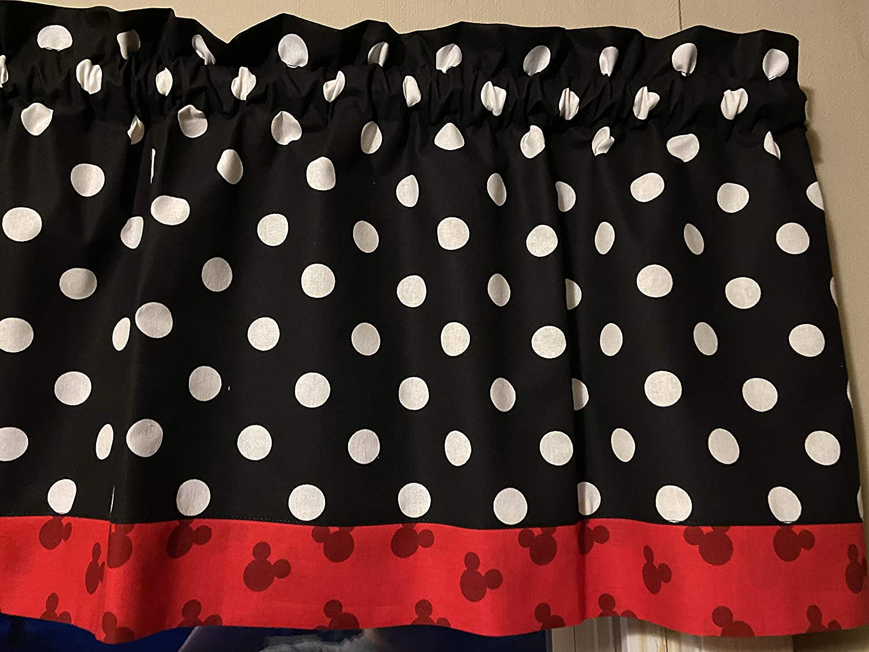 Amazon Com Mickey Mouse Red Black White Kitchen Bedroom Window Valance Topper Treatment Decor Handmade