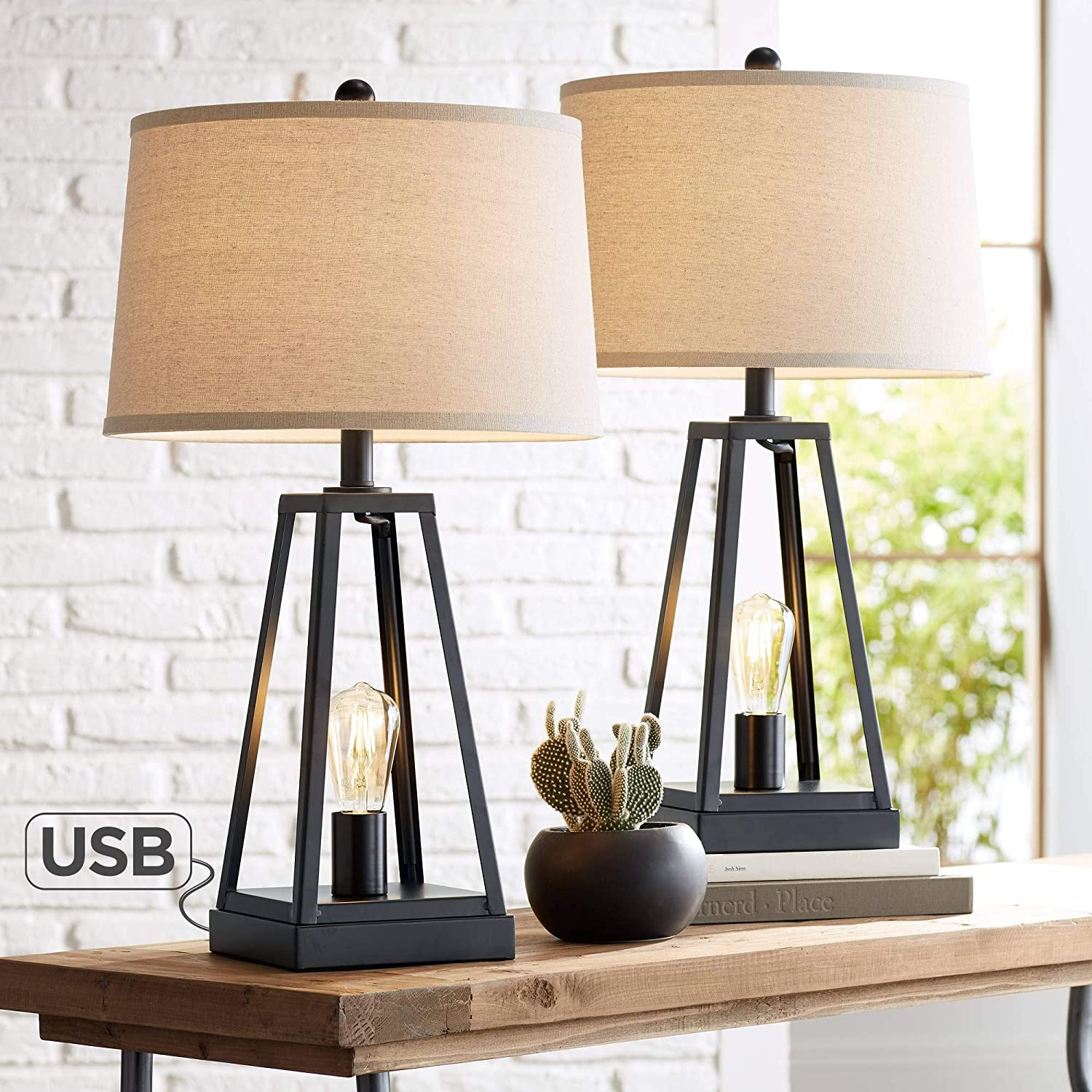 Kacey Industrial Farmhouse Table Lamps Set Of 2 With Usb Charging Port Nightlight Led Open Column Dark Metal Oatmeal Fabric Drum Shade For Living Room Bedroom Bedside Nightstand Franklin Iron Works