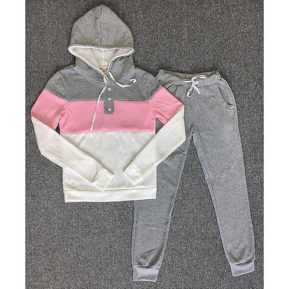 kunfang Donna Sport Set Manica Lunga A Righe con Cappuccio Top Pantaloni Lunghi Sportswear Set da 2 Pezzi Tuta da Jogging Tuta Sportiva da Allenamento Casual