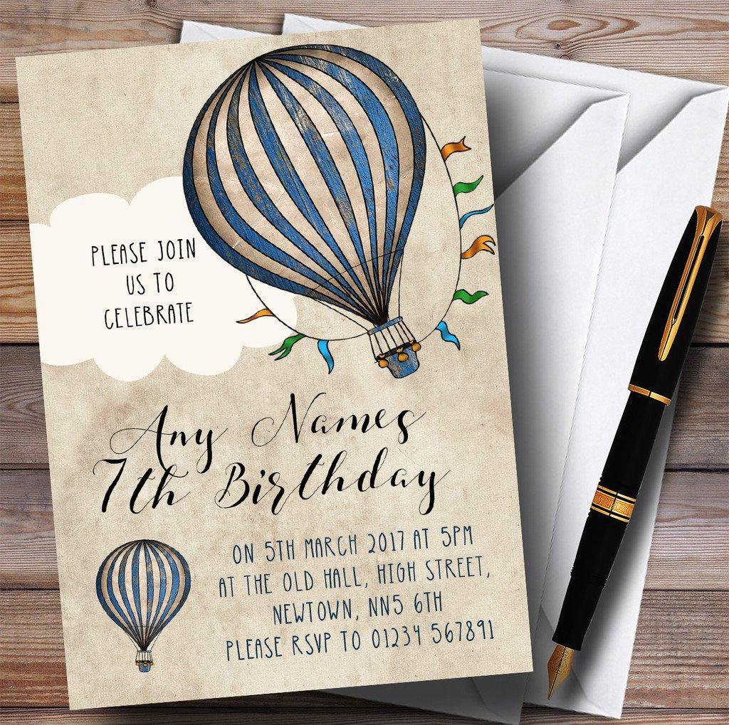Boys Vintage Blue Hot Air Balloon Childrens Birthday Party Invitations