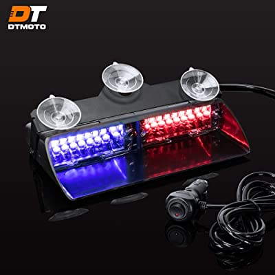 "9"" 16W Blue Red LED Flashing Police Warning Strobe Dash Light for Emergency Vehicles - Interior Emergency Police Lights For Windshield w/Suction Cup: Automotive"