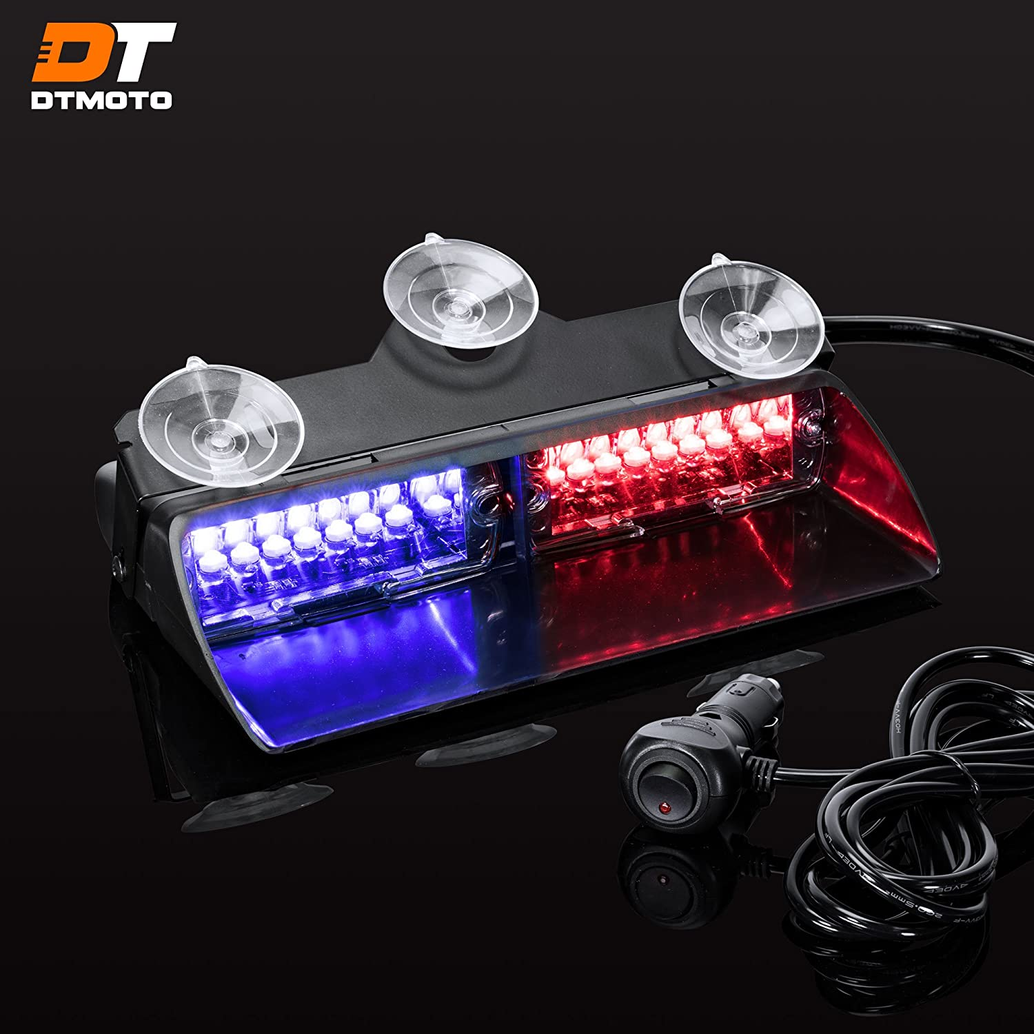"""9"""" 16W Blue Red LED Flashing Police Warning Strobe Dash Light for Emergency Vehicles - Interior Emergency Police Lights For Windshield w/Suction Cup"""