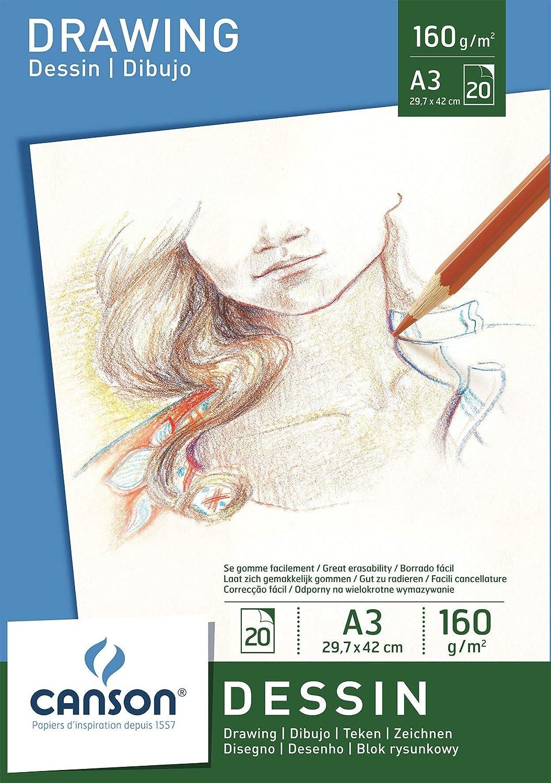 Canson Bloc 200005779 Papier /à dessin Blanc pur