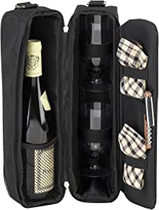 Picnic at Ascot Insulated Wine Cooler Tote Bag for Picnics, Beach and Concerts with Nordic Ice Freezer Ice Packs. Holds 1 or 2 Bottles (Navy) #133-B