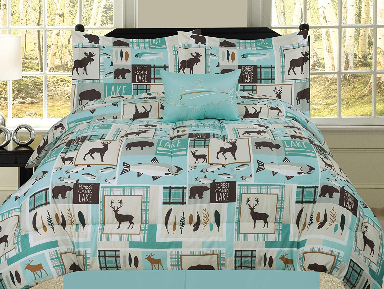 Twin Fishing Lakehouse Cabin Lodge Comforter Bedding Set Bear Fish Deer Rustic, Brown Blue and Teal