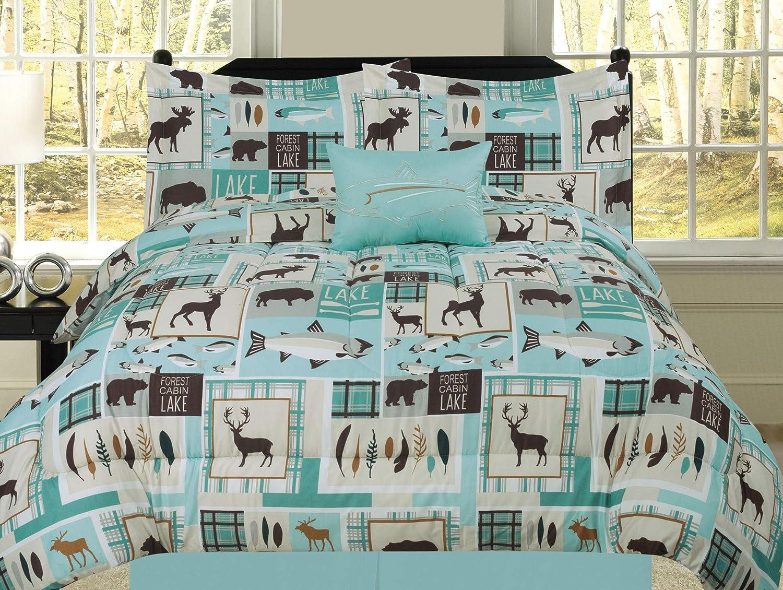 Lake House Bedding Sets.Twin Fishing Lakehouse Cabin Lodge Comforter Bedding Set Bear Fish Deer Rustic Brown Blue And Teal