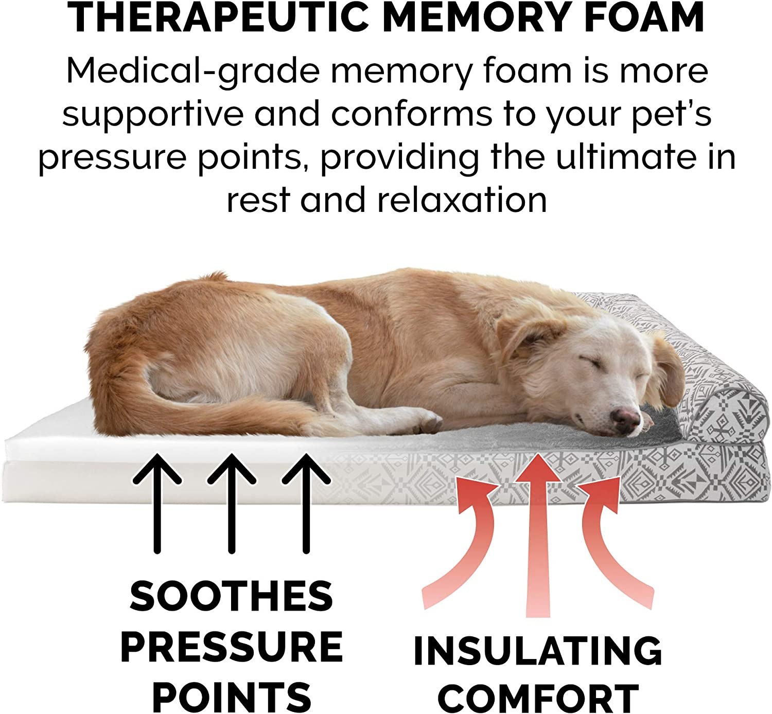 Memory Foam Orthopedic dog bed with bolster Jumbo