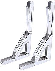 "Amarine-made 2 PCS 12"" Long Release Arm Heavy Duty Polished Stainless Steel Folding Shelf Bench Table Folding Shelf or Bracket, Max Load: 550lb/250kg, Long Release Arm"