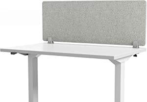 "VaRoom Acoustic Desktop Privacy Divider, 48""W x 18""H Sound Absorbing Clamp-on Cubicle Desk Divider Partition Panel in Light Grey Tackable Fabric"