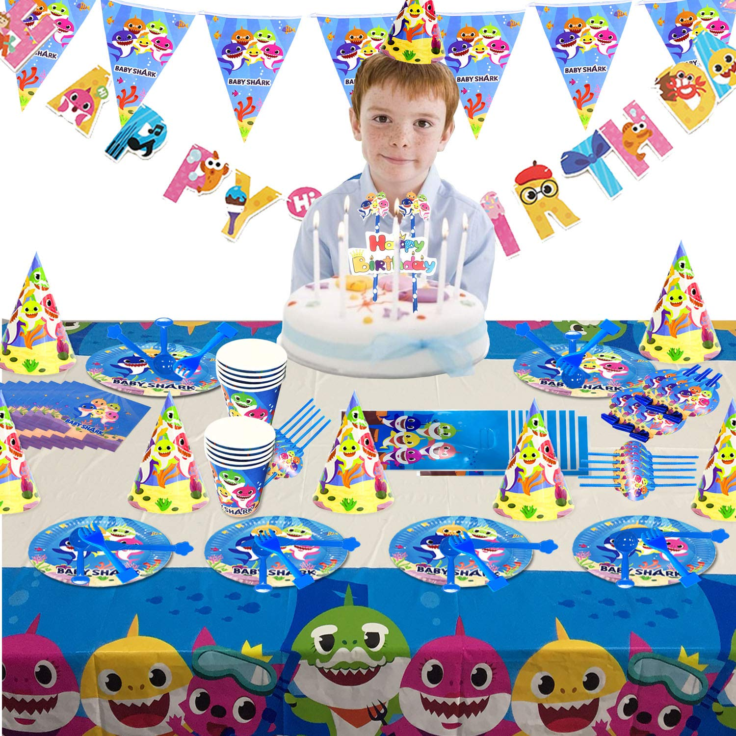 Baby Shark Party Supplies Set - 109 Pcs Baby Shark Themed Birthday Decorations Includes Disposable Tableware Kit Blowing Dragon Paper Hat Gift Bag and Banner - Serves 10 Guest by AiParty (Image #2)