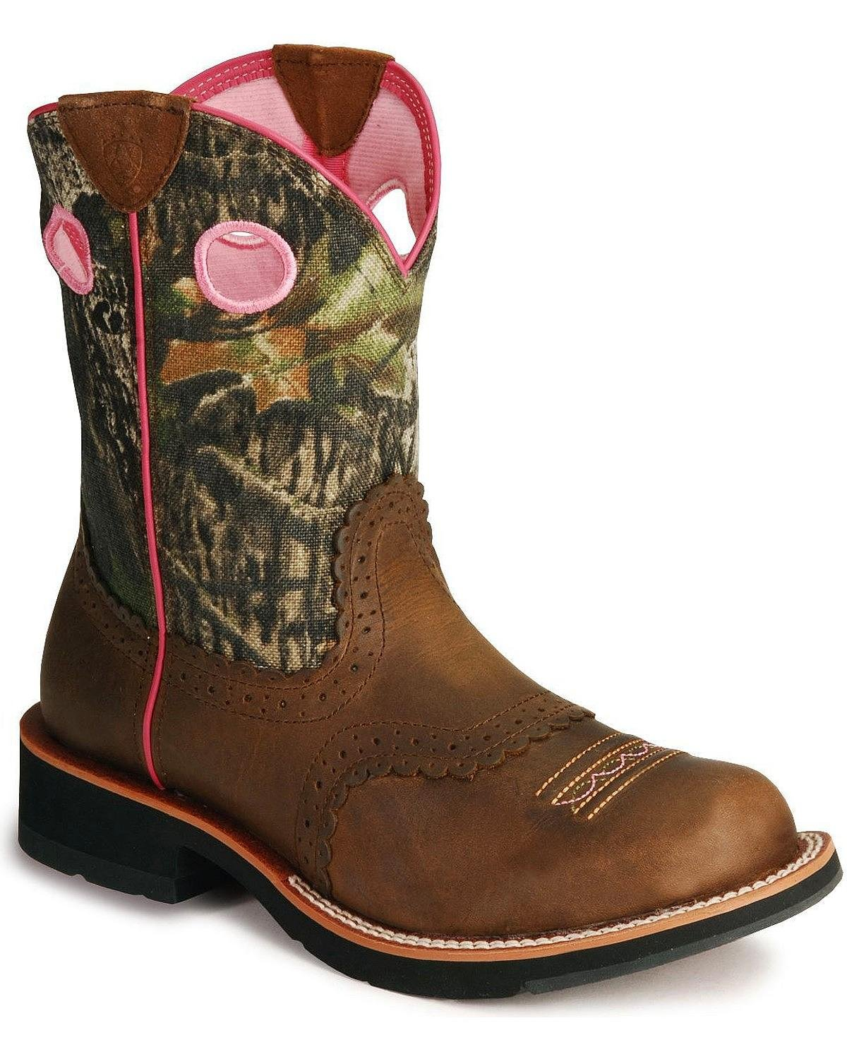Ariat Women's Fat Camo Cowgirl Boot Distressed 7.5 M US