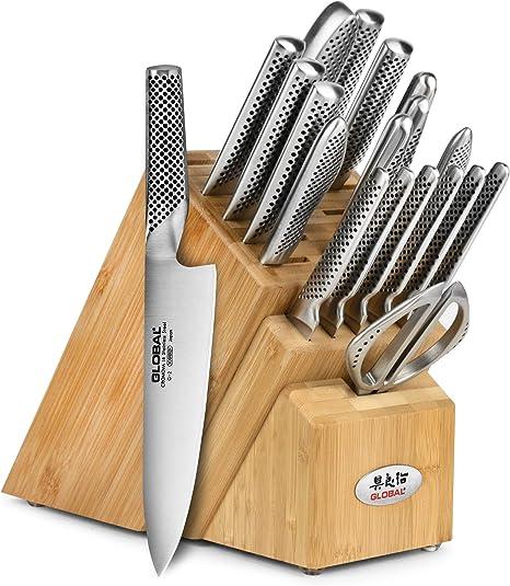 Global Knife Set - 20 Piece - Bamboo Block: Kitchen & Dining