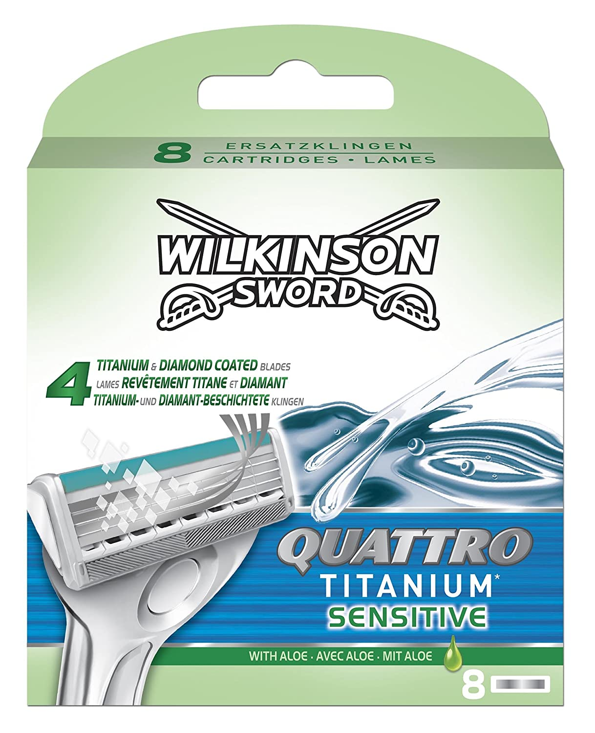 Wilkinson Sword Quattro Titanium Sensitive Razor Blades - Pack of 8 Blades HealthCentre 70050990