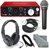 Focusrite Scarlett 2i2 (2nd Gen) USB Audio Interface W/Deluxe Bundle, Cables, Samson Headphone + Samson Microphone + FiberTique Cleaning Cloth