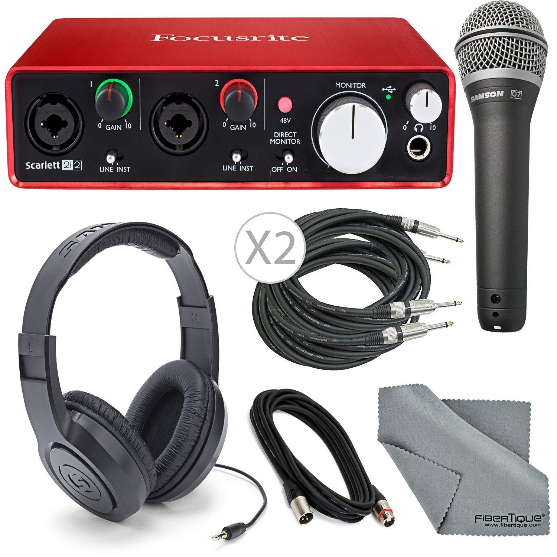 Focusrite Scarlett 2i2 (2nd Gen) USB Audio Interface W/Deluxe Bundle, Cables, Samson Headphone + Samson Microphone + FiberTique Cleaning Cloth