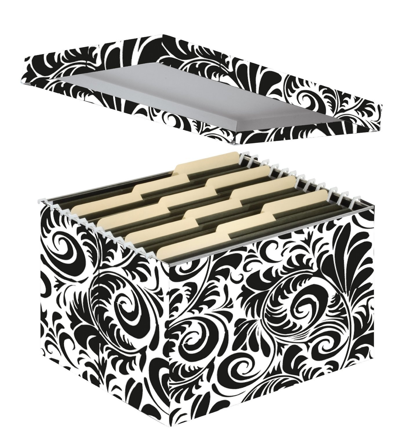 damask office accessories. Letter And Legal File Box, Interior Dimensions 9.5 X 14.75 12.25 Inches, Black White Scroll Design (SNS01835) : Filing Crates Office Products Damask Accessories E
