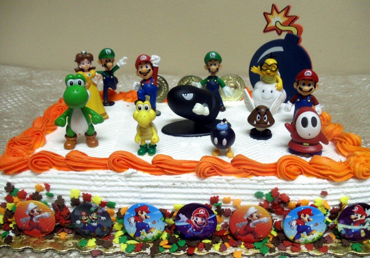 Mario Brothers Birthday Party 22 Piece Mario Birthday Cake Topper Featuring Mario, Luigi, Bullet, Toad, Mushroom, Goomba, Koopa, Shy, Bomb, Lakitu Spiny, Mario Coins, Large Bomb, and 6 Mario 1'' Decorative Buttons