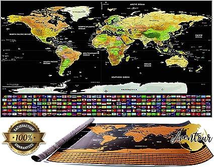 Aventour Mapa Mundi Para Rascar | 800x600mm Mural Grande Del Mundo ...