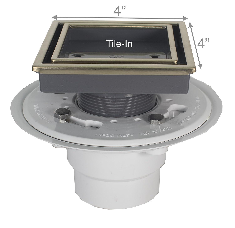 QM Tile-In Center//Square Shower Drain Satin Stainless Steel Marine 316 Frame Key ABS Lagos Series Veil Line Kit includes: Hair Strainer