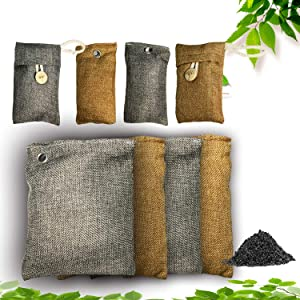 Activated Bamboo Charcoal Bag-8 PACK,Natural Activated Bamboo Charcoal Air Filter Ordor Remover Absober Eco Friendly Odor Eliminator and Moisture Absorber For Use As Car Deodorizer Closet or Room Air