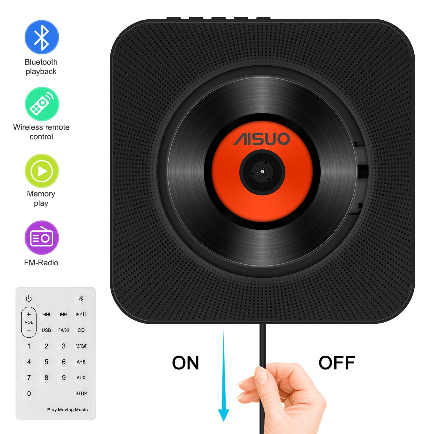 Aisuo CD Player, Home Audio with Built-in Bluetooth 4.2 HiFi Speaker, Wall Mountable Kit, Remote Control, Support FM Radio & Earphones, The Best Gift for Friends and Teens.