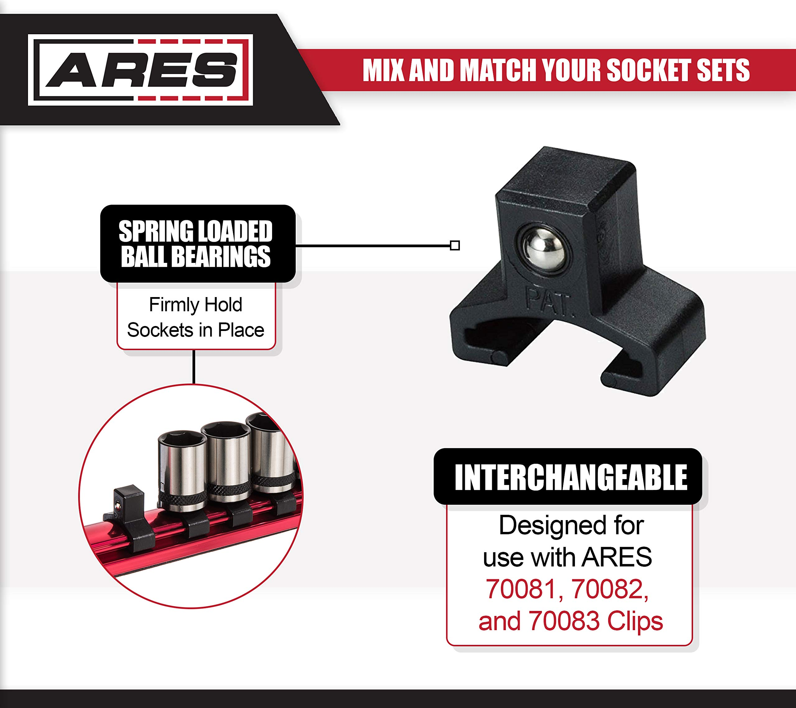 ARES 71181 | 3/8-Inch Drive Magnetic Socket Organizer | Aluminum Rail Stores up to 12 Sockets and Keeps Your Tool Box Organized by ARES (Image #3)