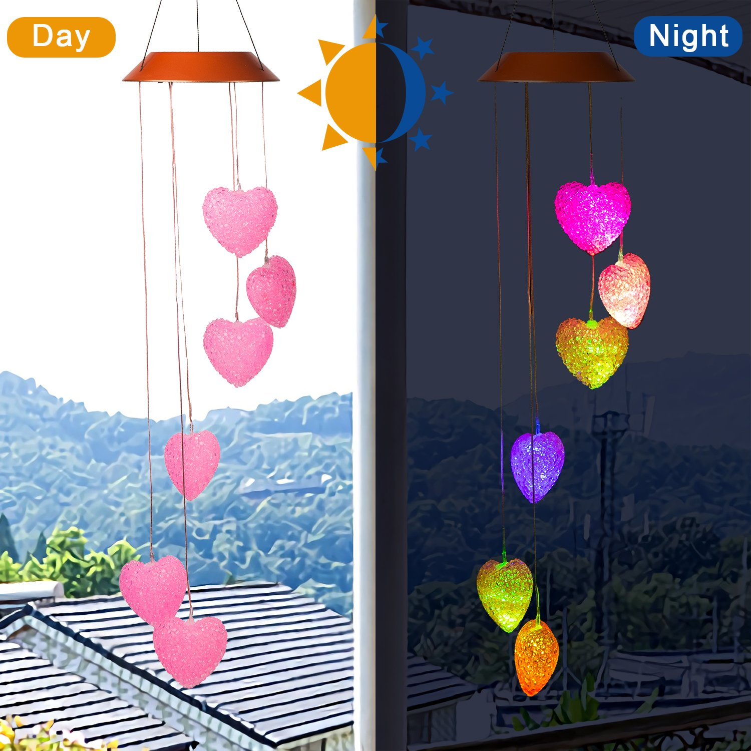CXFF LED Solar Wind Chimes Outdoor - Waterproof LED Changing Light Color Wind Chime, Wind Chimes for Home, Party, Night Garden Decoration (Pink Heart-shaped)