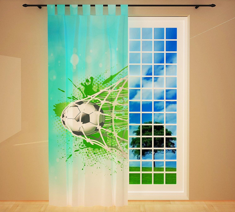 Clever-Kauf-24 Vorhang Gardine für das Kinderzimmer Fußball blau BxH 145 x 245 cm   Sichtschutz   Lichtdurchlässig   Schlaufenschal fürs Vereinsheim