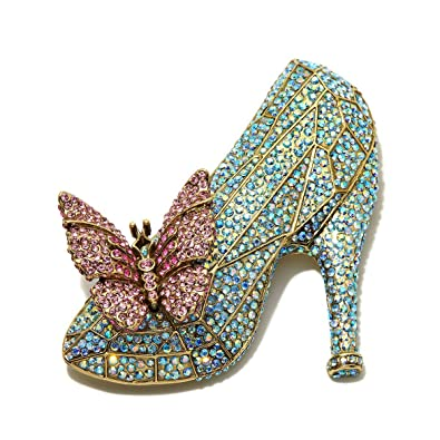 f0fed2a3761b Image Unavailable. Image not available for. Color  Heidi Daus If The Shoe  Fits Glass Slipper Pin Swarovski from The Cinderella ...