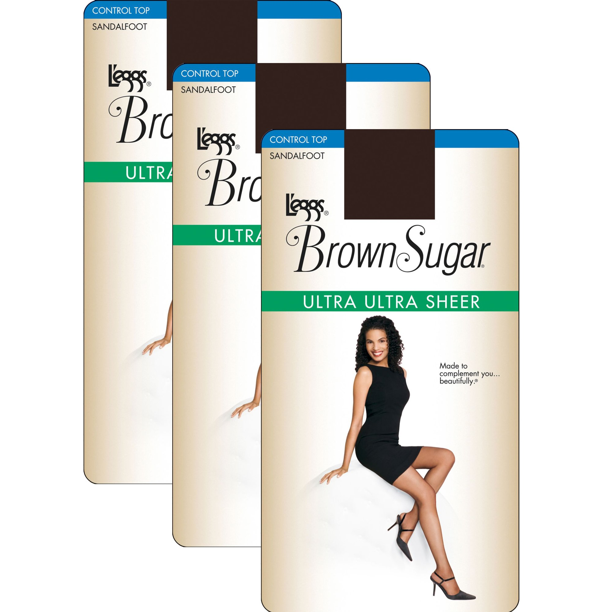 L'eggs Women`s Set of 3 L`eggs Brown Sugar Ultra Sheer Control Top Pantyhose T, Coffee