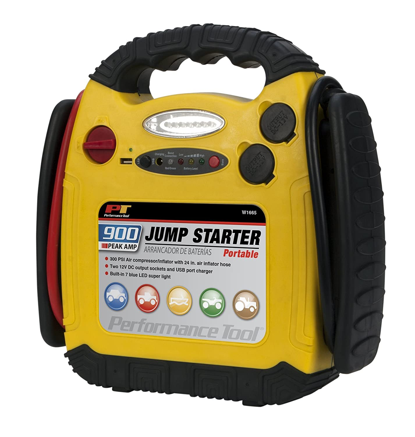 Amazon.com: Performance Tool W1665 900 Amp Jump Starter, Inflator and  Portable Power Unit: Automotive