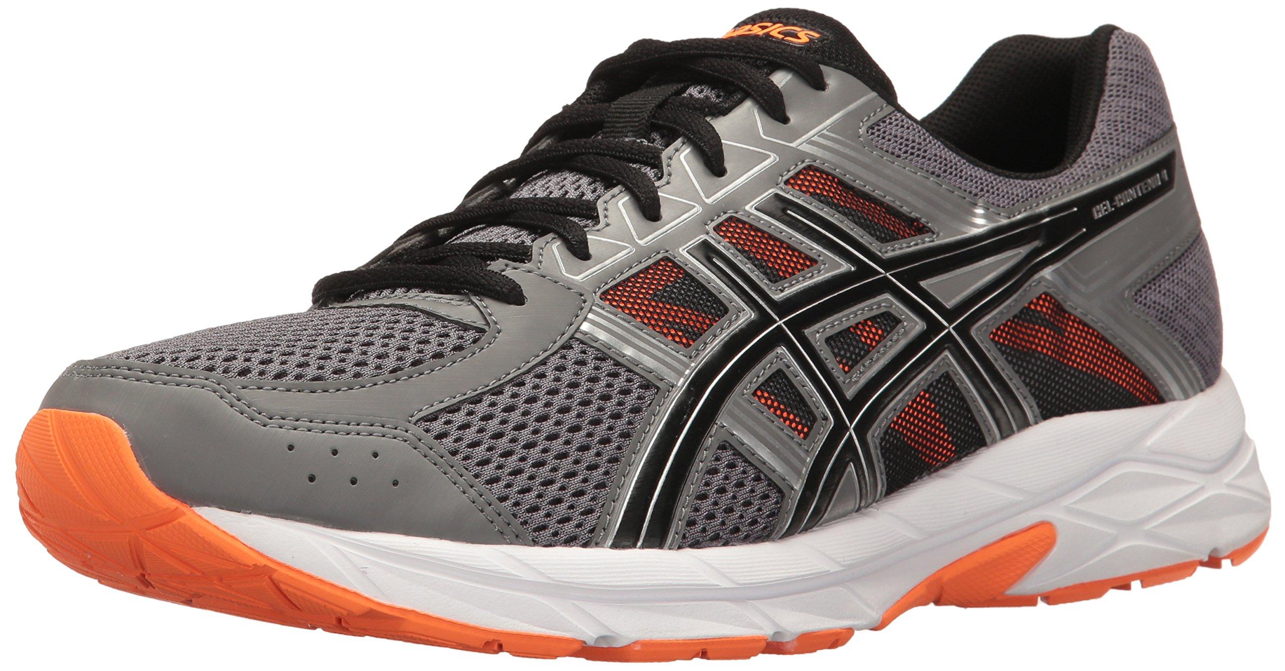 ASICS Men's Gel-Contend 4 Running Shoe, Carbon/Black/Hot Orange, 6.5 M US