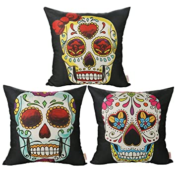 Luxbon 3 Funda CojIn Almohada Halloween Calavera Esqueleto Día de Muertos México para Sofá Cama Coche 45x45 cm
