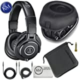 Audio-Technica ATH-M40x Professional Studio Monitor Headphones + Slappa Full Sized HardBody PRO Headphone Case (SL-HP-99)