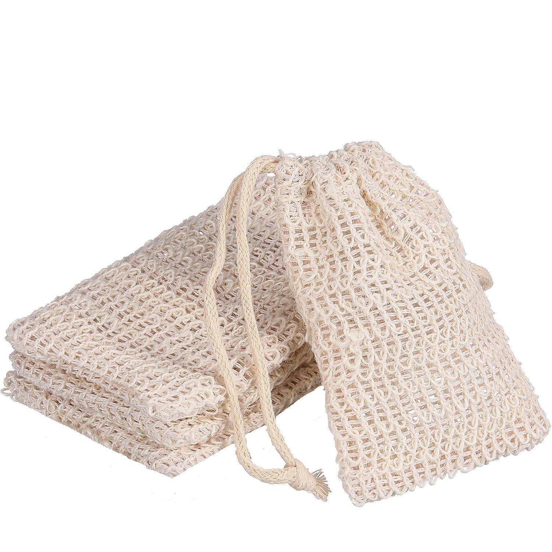 NALATI Confezione da 4 sacchetti di Sisal Sisal Organic Foaming e asciugatura del sapone Scrub Massage Soap bag Natural Soap Saver Pouch
