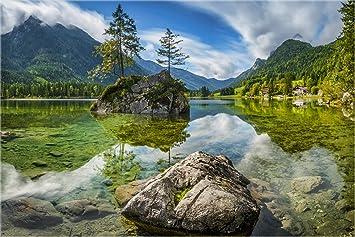 XXL echtes Glasbild, Bayern am Hintersee Berchtesgaden ...