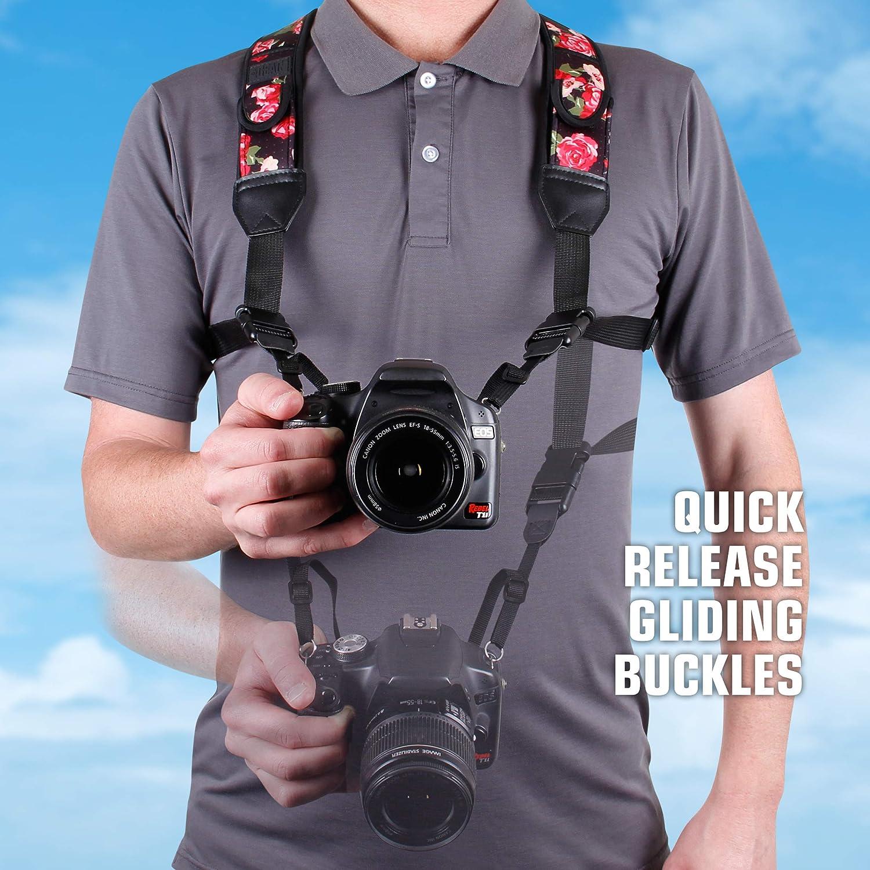Compatible avec Canon Nikon Sony et plus USA Gear DSLR Harnais de Poitrine pour Appareil Photo Avec Boucles /à D/éclenchement Rapide Motif Floral en N/éopr/ène et Poches pour Accessoires