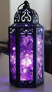 Vela Lanterns Moroccan Style Candle Lantern with Fairy Lights, Medium, Purple Glass
