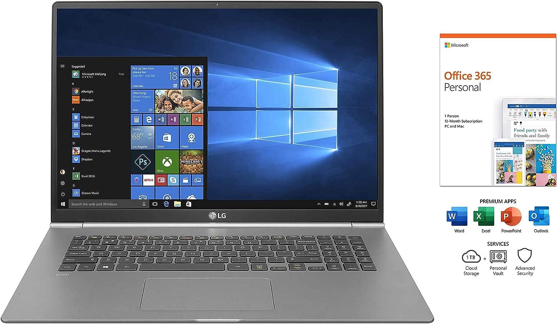 "LG-Gram 17"" WQXGA(2560 X 1600) IPS Display Laptop with Office 365, i7-8565U, 16GB RAM, 1TB PCIE SSD,Backlit Keyboard,Webcam, Thunderbolt 3, Fingerprint ID, Intel UHD Graphics 620, Win 10"