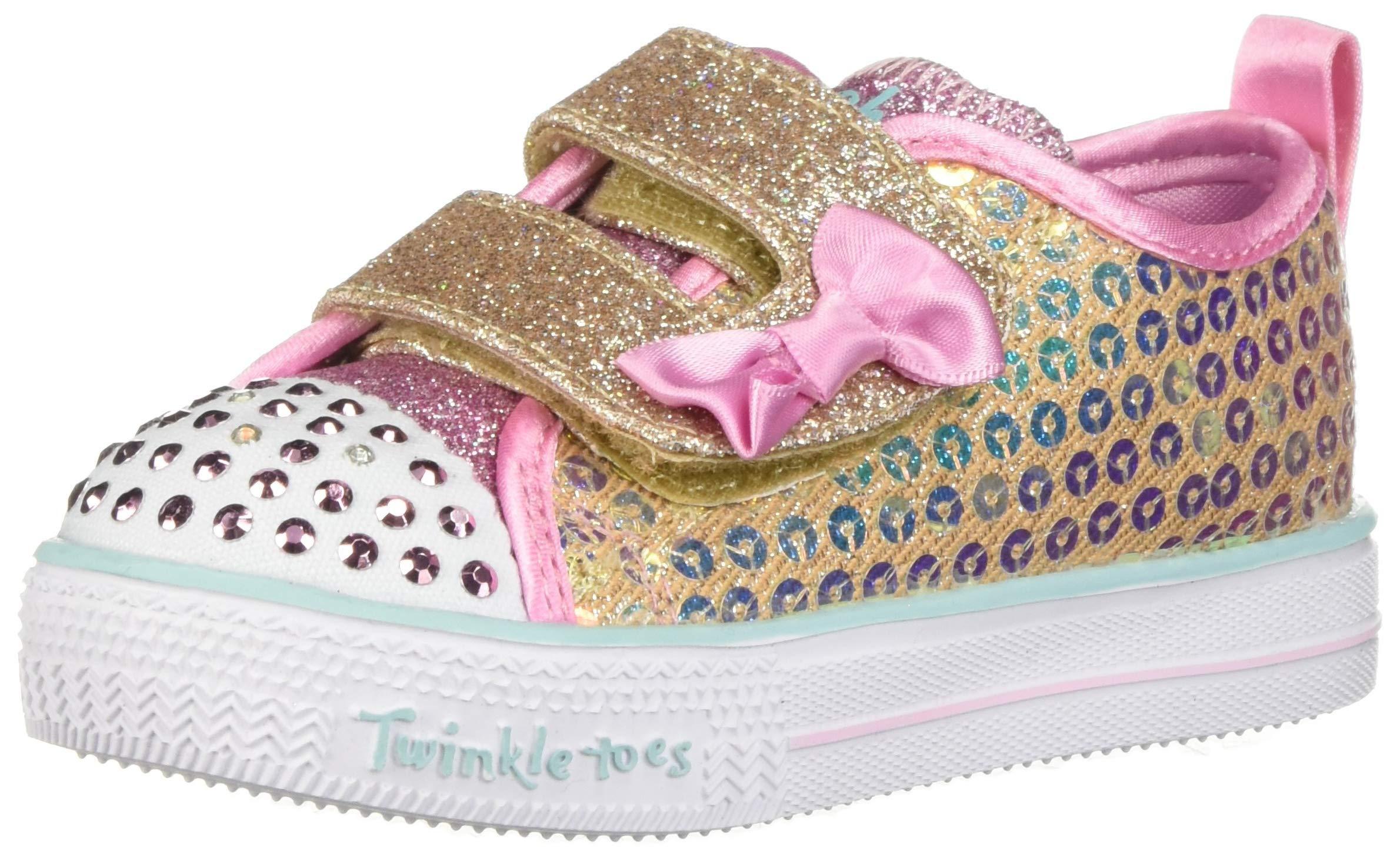 Skechers Kids Girls' Shuffle Lite-Mini Mermaid Sneaker, Gold, 10.5 Medium US Little Kid