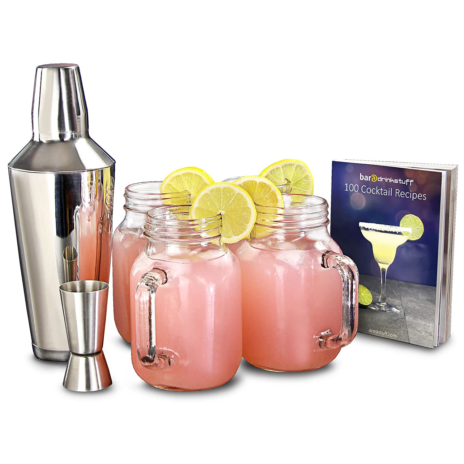 bar@drinkstuff Mason Jar Cocktail Set - Vintage Cocktail Making Kit including 4 Jam Jar Glasses, Shaker and Recipe Book