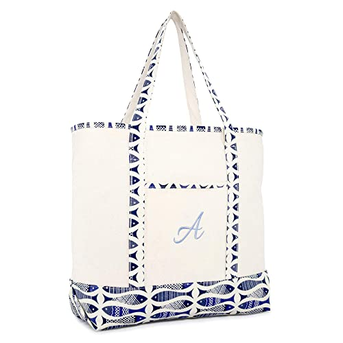 dd62b74550 Image Unavailable. Image not available for. Color  DALIX Personalized  Shopping Tote Bag Monogram Blue Antique Fish Ballent Zippered Letter A