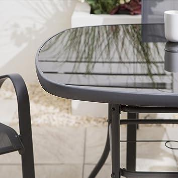 Tesco Seville Mesa de jardín cuadrada con estructura de acero, 4 ...