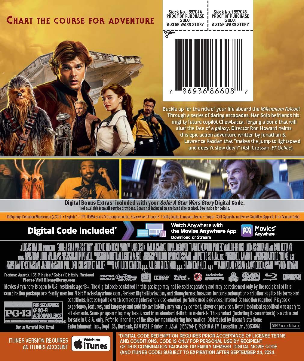 Solo: A Star Wars Story Edizione: Stati Uniti Italia Blu-ray ...