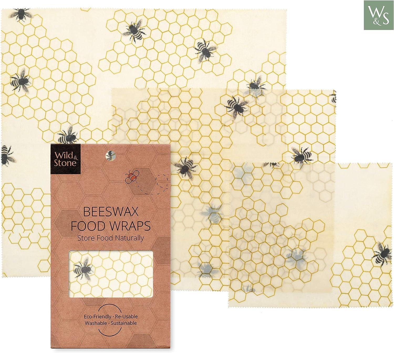 Wild & Stone   Envoltura reutilizable de cera de abeja   alternativa natural a una envoltura de plástico   Sostenible y respetuoso con el medio ambiente   Nido de abeja conjunto de patrones de 3