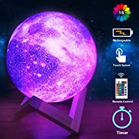 Moon Lamp Galaxy Moon Night Light 3D Printing Dimmable Timer Moonlight 16 Colors with Stand & Remote & Touch Control…