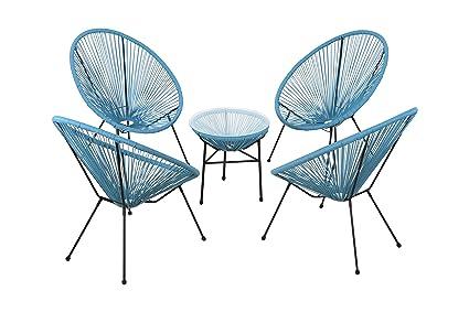 Fabulous Acapulco Chair All Weather Wicker Indoor Outdoor Round Lounge Chair Set Of 5 By Modern Century Outdoor Cm 0113 5 Piece Turquoise Spiritservingveterans Wood Chair Design Ideas Spiritservingveteransorg