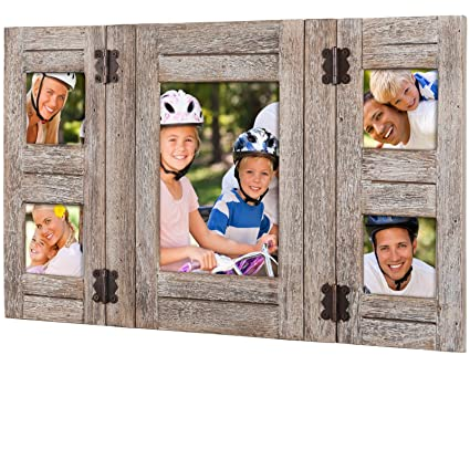 Amazoncom Rustic Distressed Wood Collage Picture Frames Holds 5