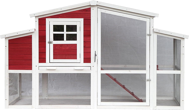 ALEKO DXH045 Barn Style Wood Chicken Coop Rabbit Hutch